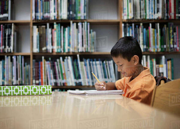 A boy sitting at  table in a school library, using a pencil, studying.  Royalty-free stock photo