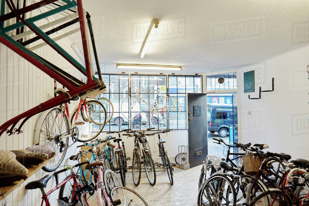 A bicycle shop, stocked with sports bikes, mountain and road bicycles.  Royalty-free stock photo