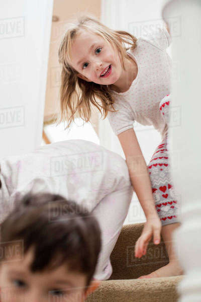 Two children playing on the stairs.  Royalty-free stock photo