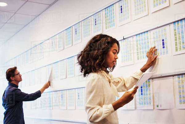 A woman and a man standing in an office adding pieces of paper to a display on a wall. Royalty-free stock photo