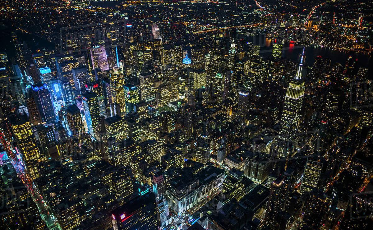 USA, New York, New York City, City Lights At Night