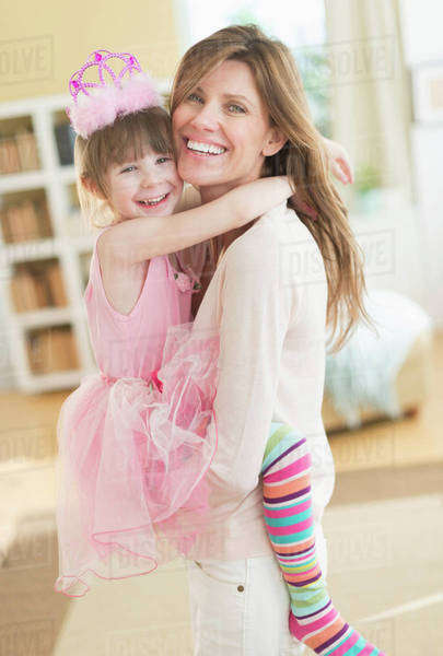 Portrait of mother and daughter (4-5) wearing tutu Royalty-free stock photo