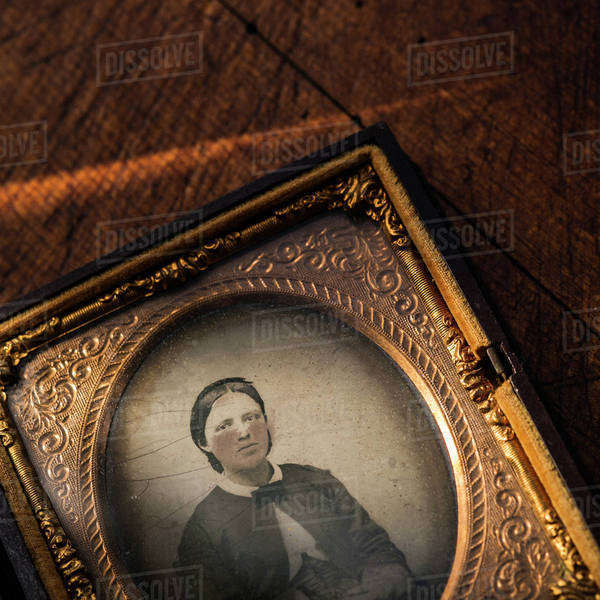 Studio shot of old fashioned photograph in picture frame Royalty-free stock photo