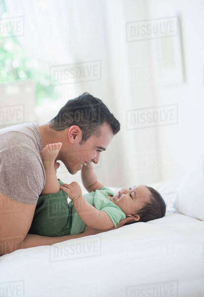 Father playing with his son (6-11 months) Royalty-free stock photo