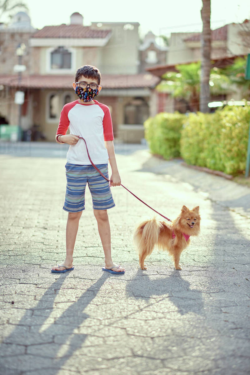 Mexico, Zapopan, Boy with face mask walking dog Royalty-free stock photo