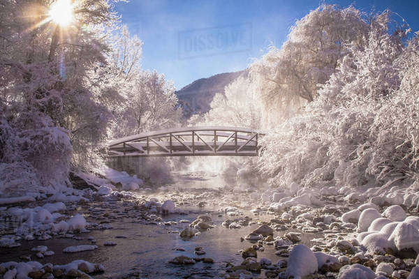 Scenic view of stream in winter Royalty-free stock photo