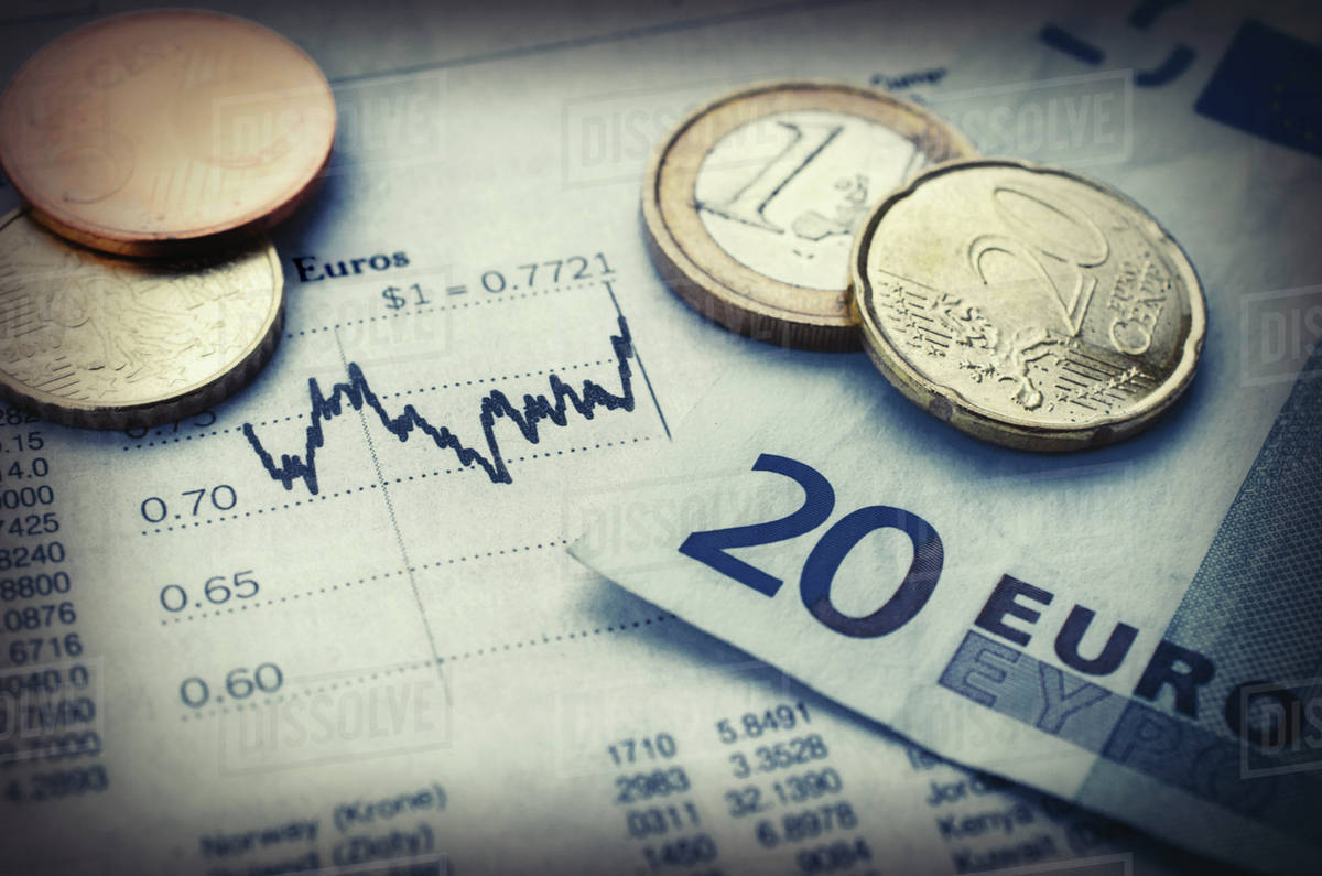 Euro Currency With Financial Graph
