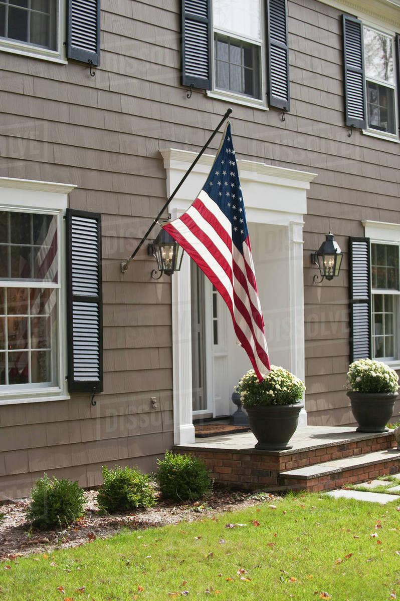 American Flag On House D1028 75 101