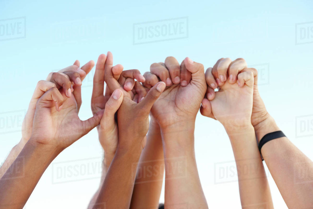 Hands clasped in solidarity Royalty-free stock photo