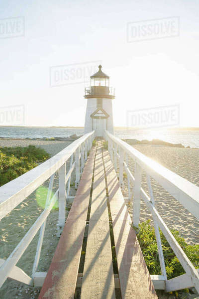 Brant Point Lighthouse in sunlight Royalty-free stock photo