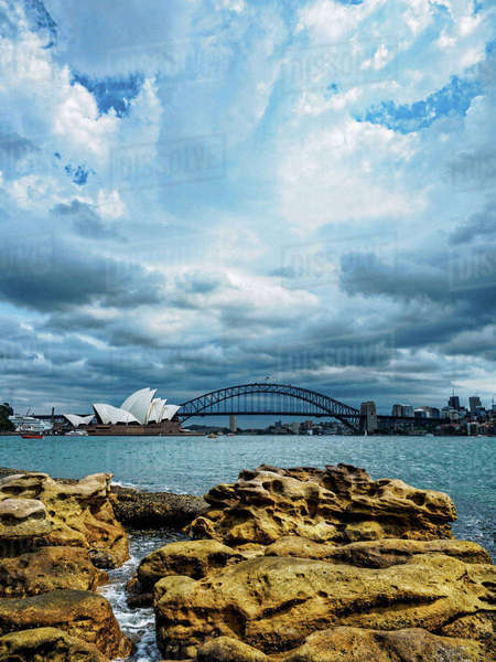 Sydney Opera House on cloudy day Royalty-free stock photo