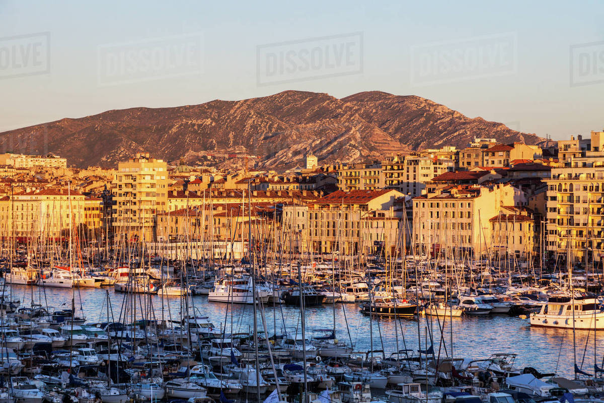 france provence alpes cote d 39 azur marseille vieux port old port with mountain in background. Black Bedroom Furniture Sets. Home Design Ideas