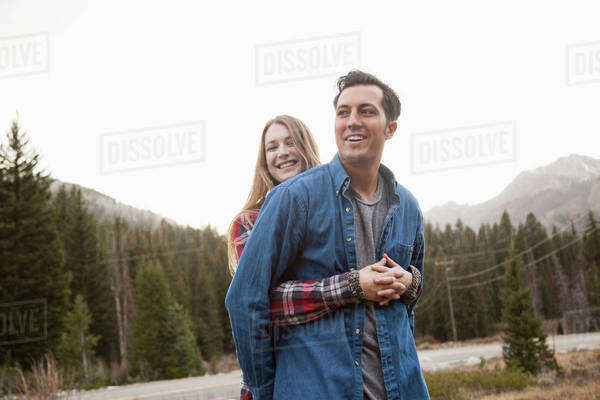 Portrait of young couple in non-urban scene Royalty-free stock photo