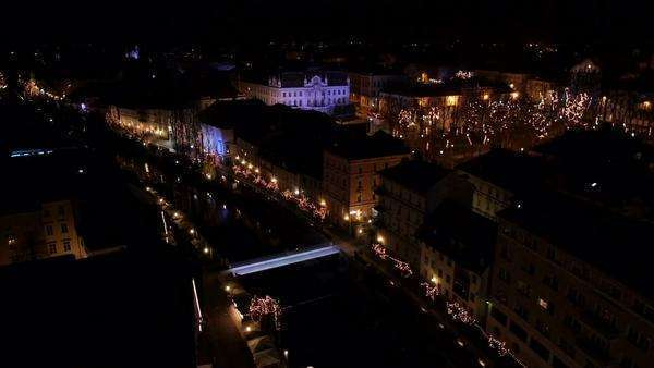 Aerial - Christmas lights Royalty-free stock video