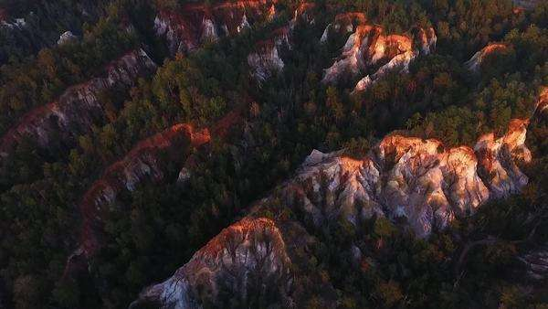 Aerial shot of canyons at sunset Royalty-free stock video