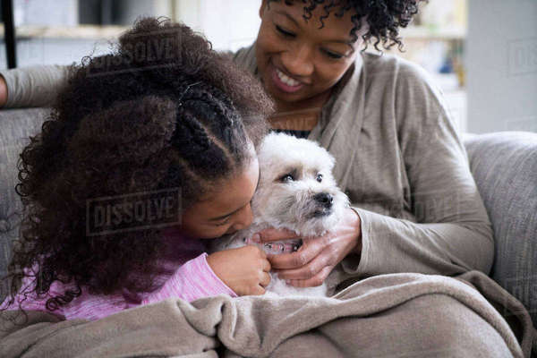 Mother looking at daughter kissing Lhasa Apso while sitting on sofa at home Royalty-free stock photo