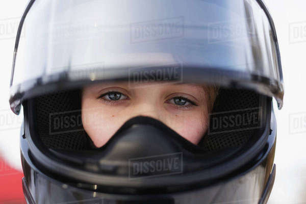 Close-up portrait of girl wearing helmet Royalty-free stock photo