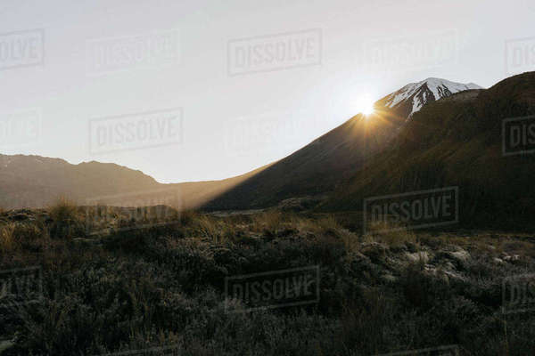 Scenic view of mountains against clear sky at Tongariro National Park during sunrise Royalty-free stock photo