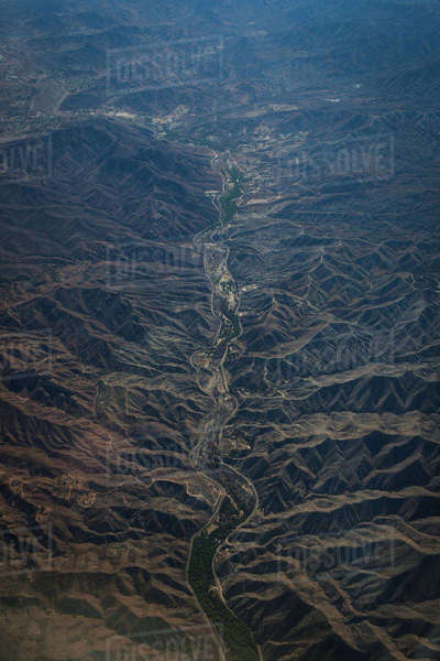 High angle view of dramatic landscape Royalty-free stock photo
