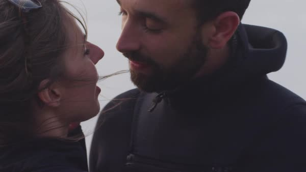 Slow motion shot of romantic couple kissing against sky Royalty-free stock video