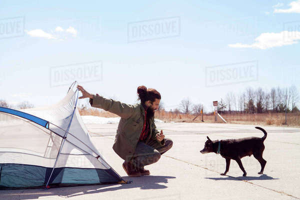 Full length of man holding tent while looking at dog at campsite Royalty-free stock photo