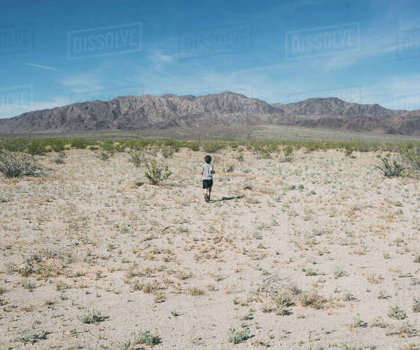Rear view of boy walking on sand at Joshua Tree National Park against blue sky Royalty-free stock photo