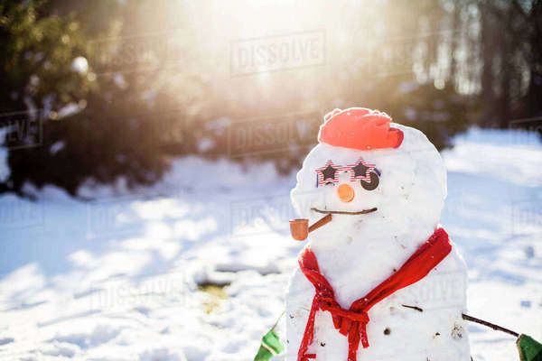 Close-up of snowman on snowy field Royalty-free stock photo