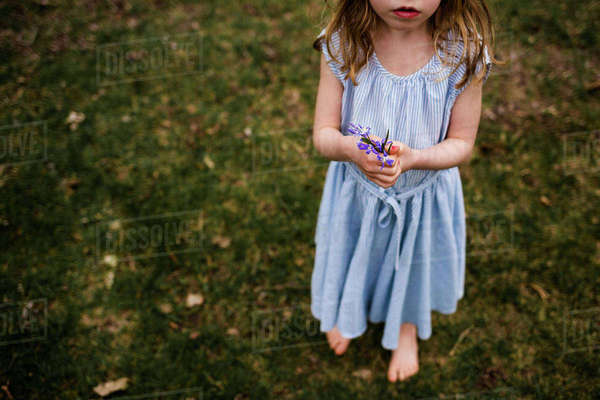 Low section of girl holding flowers while standing on grassy field at park Royalty-free stock photo