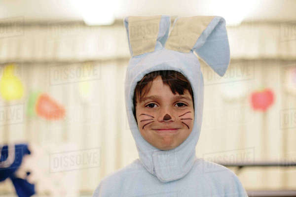 Portrait of cute boy in rabbit costume at home Royalty-free stock photo