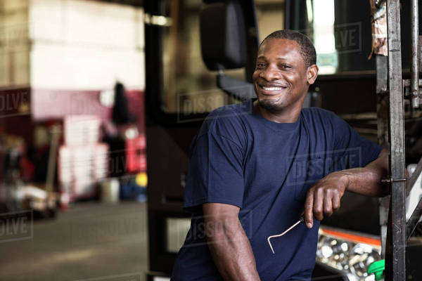 Portrait of smiling blue collar worker Royalty-free stock photo
