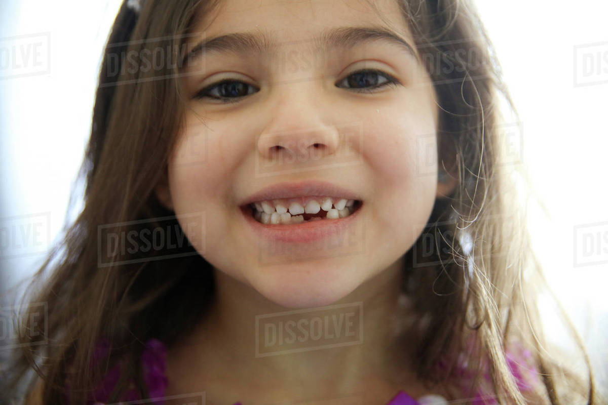 Pleasant Close Up Portrait Of Girl With Gap Toothed At Home Stock Photo Interior Design Ideas Clesiryabchikinfo