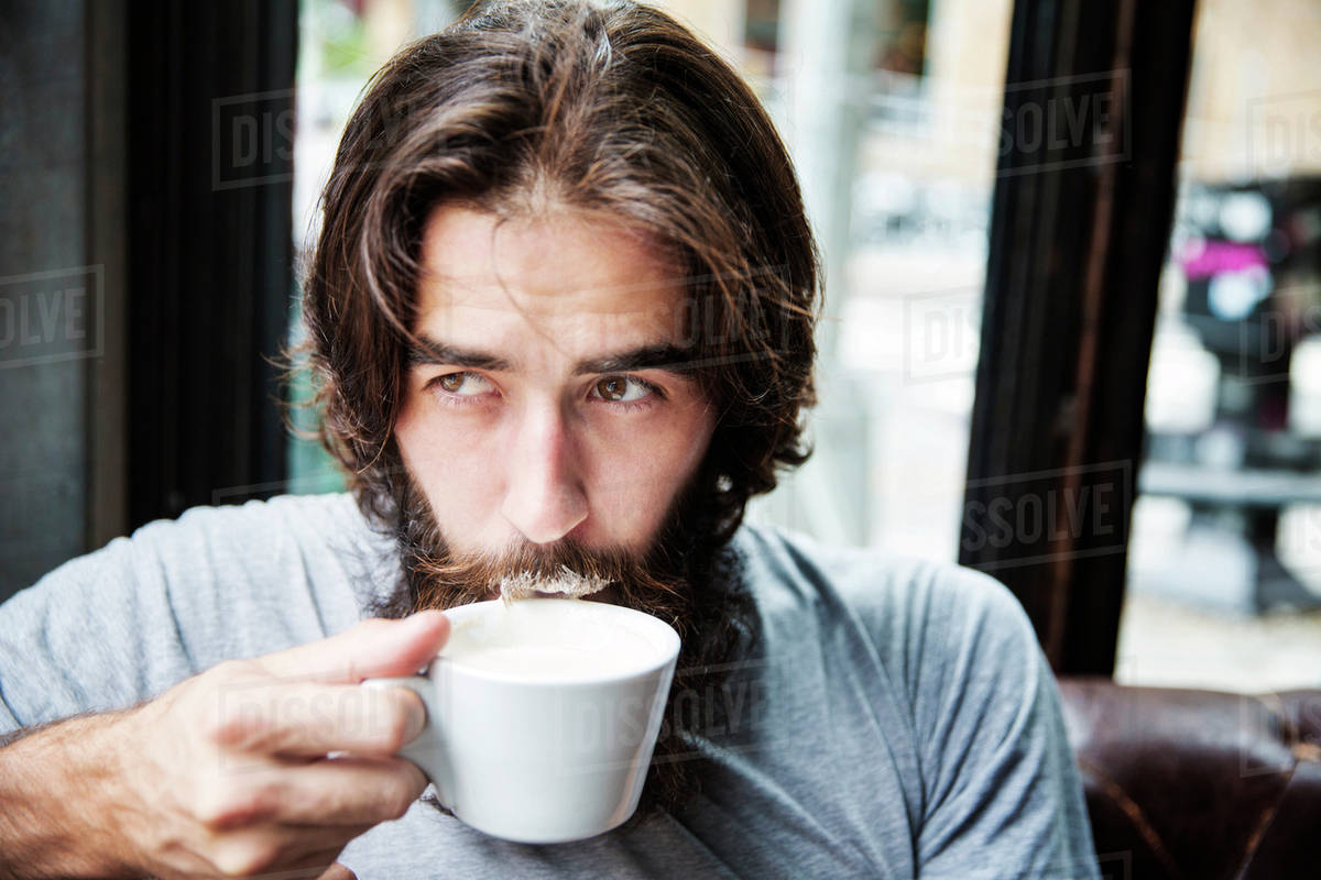 Mustache Bar Stock On In Bearded Photo Man Drinking Coffee Milk WD2E9HIY
