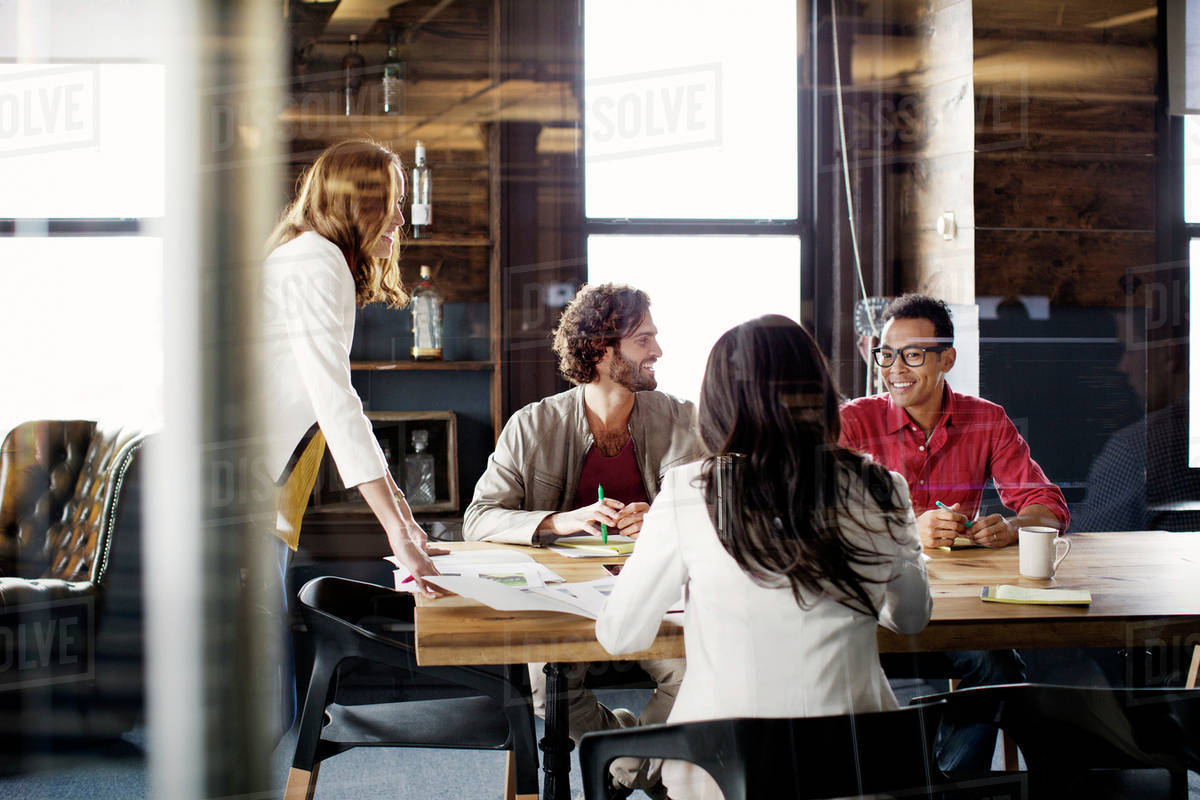 Team working in office refreshments on table Royalty-free stock photo