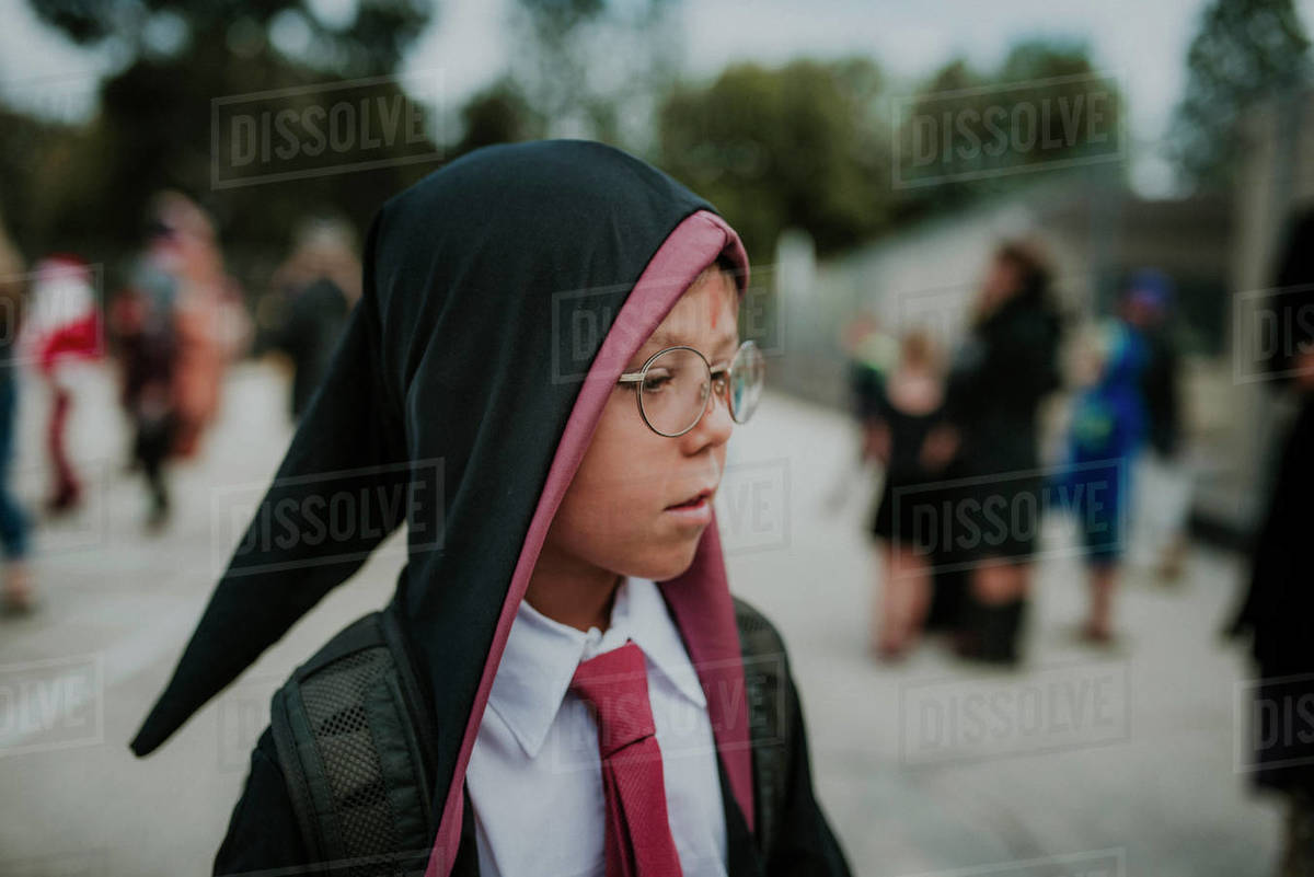 Boy dressed up looking away in park during Halloween Royalty-free stock photo