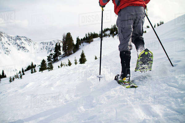 Man snowshoeing on mountain Royalty-free stock photo