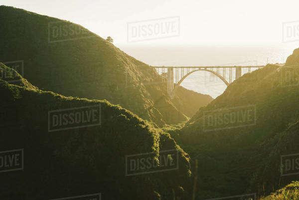 View of Bixby bridge on sunny day Royalty-free stock photo
