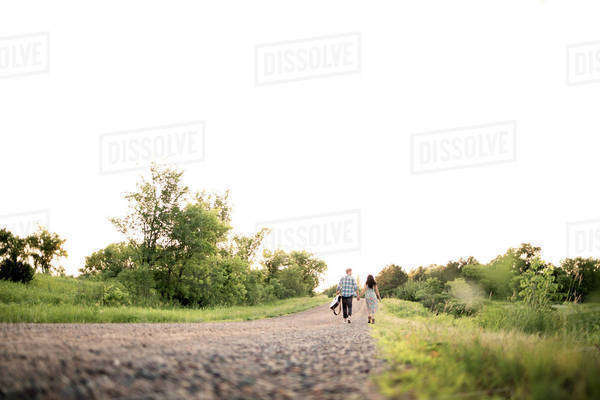 Distant view of couple holding hands and walking on road against clear sky Royalty-free stock photo