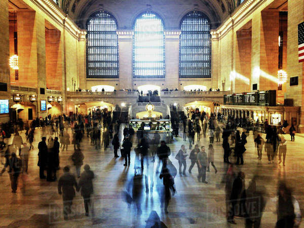 Blurred motion of people walking in Grand Central Terminal Royalty-free stock photo