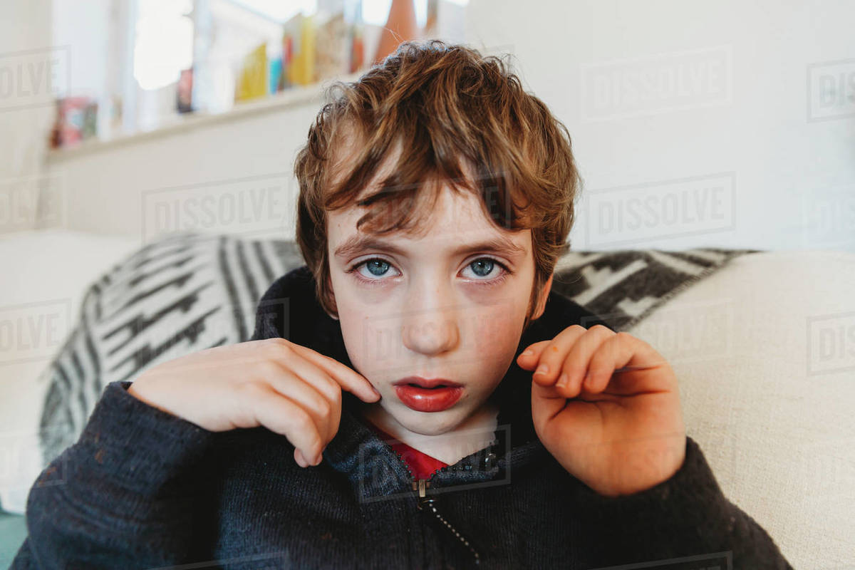 Portrait of sad boy with cold or flu Royalty-free stock photo