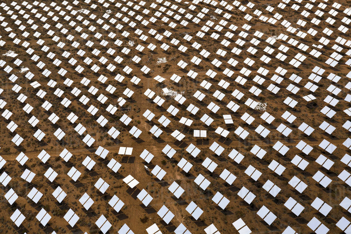 A massive solar array at the Ivanpah Generating station in the d Royalty-free stock photo