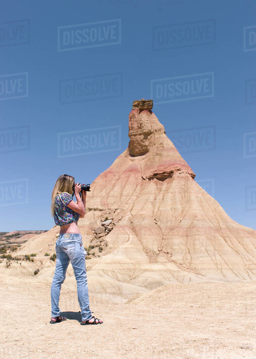 Spain, Navarra, Young woman photographer in the nature reserve o Royalty-free stock photo