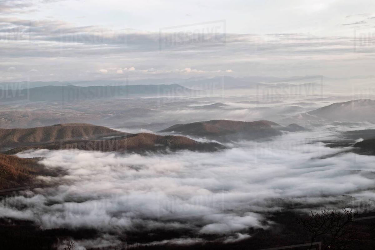 Morning mist settles in valleys of Blue Ridge Mountains, Virginia. Royalty-free stock photo
