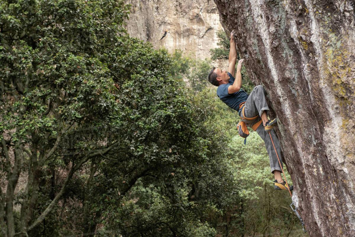 One man rock climbing in Jilotepec, Mexico Royalty-free stock photo