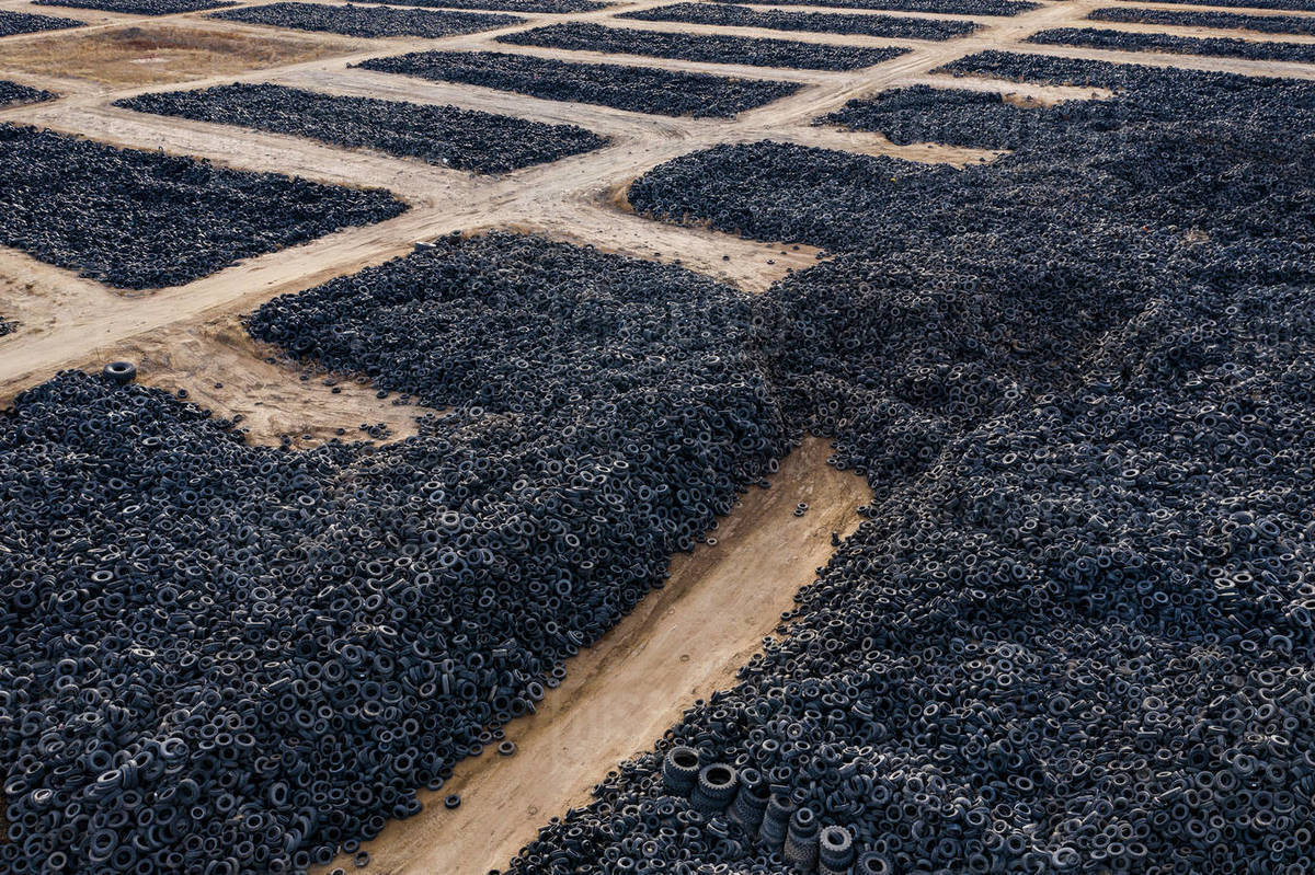 Mountains of Tires in a Landfill in the Colorado Plains Royalty-free stock photo