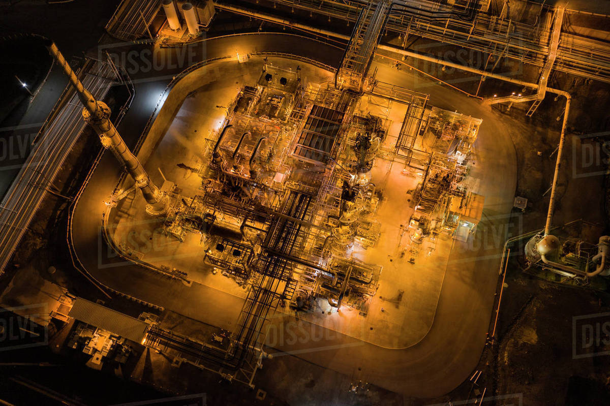 A Refinery as Seen from Above near Tomey, San Francisco, Califor Royalty-free stock photo