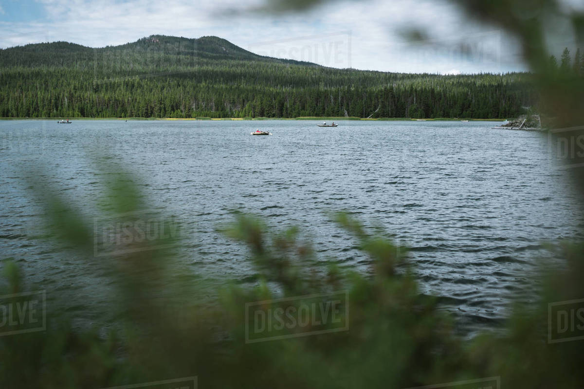 Wide angle view of small boats on scenic lake Royalty-free stock photo