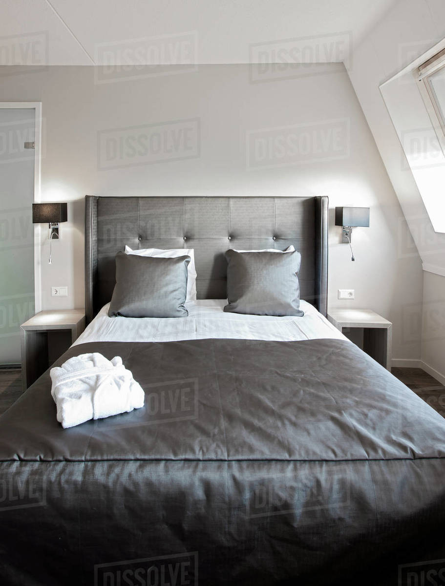 Bed at luxury hotel in the Netherlands Royalty-free stock photo
