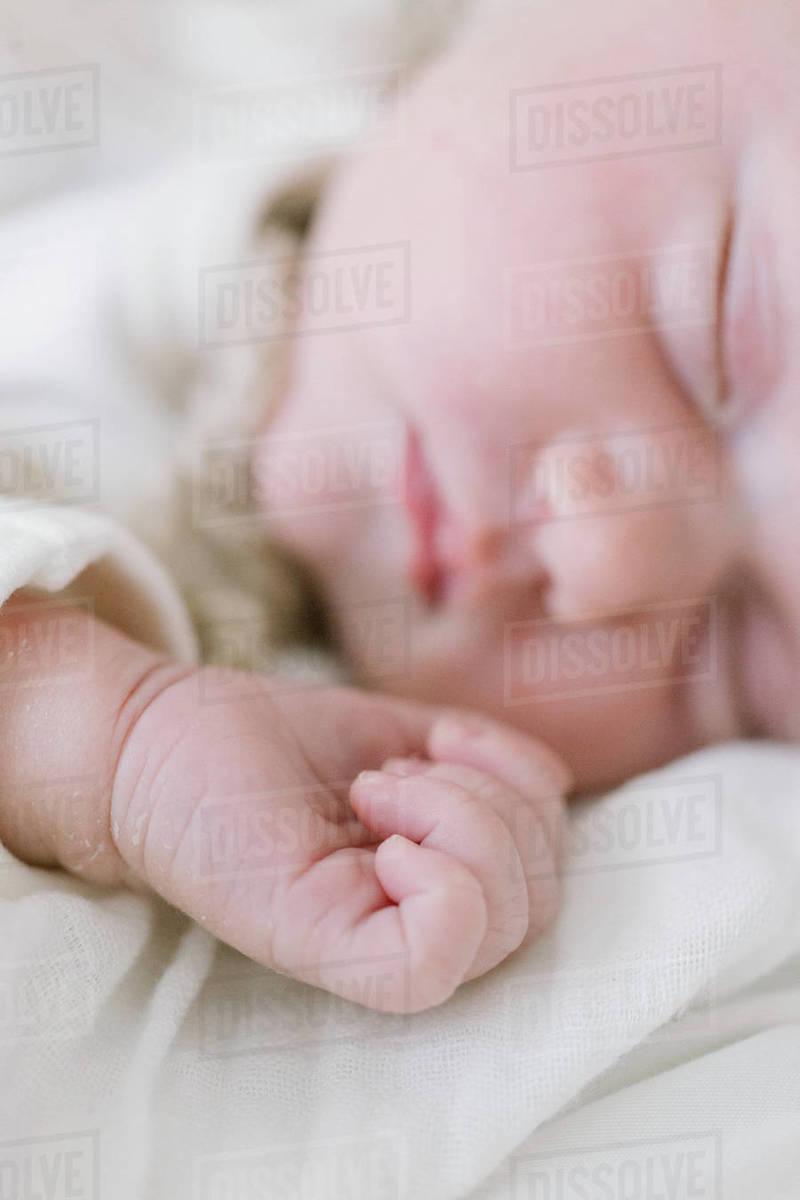 Closeup of a sleeping newborn's hand Royalty-free stock photo