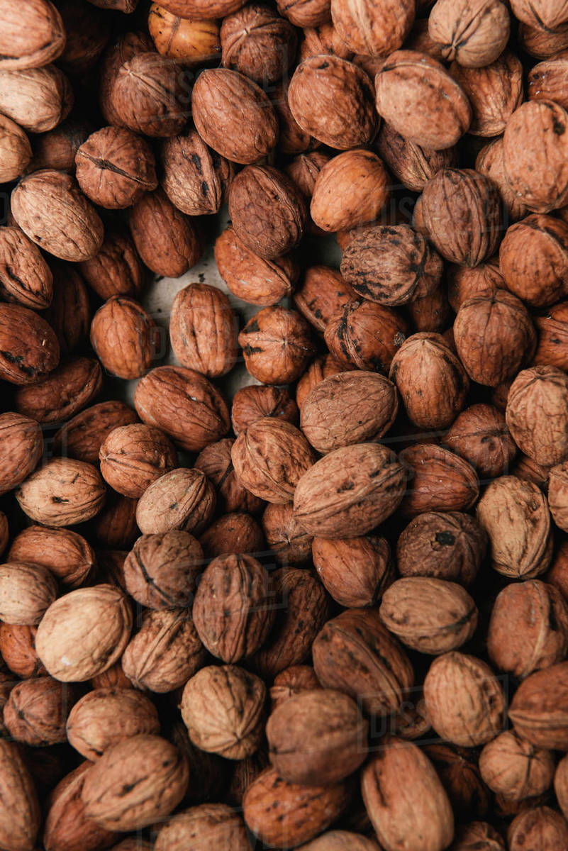 A box of walnuts at an outdoor market in southern France Royalty-free stock photo