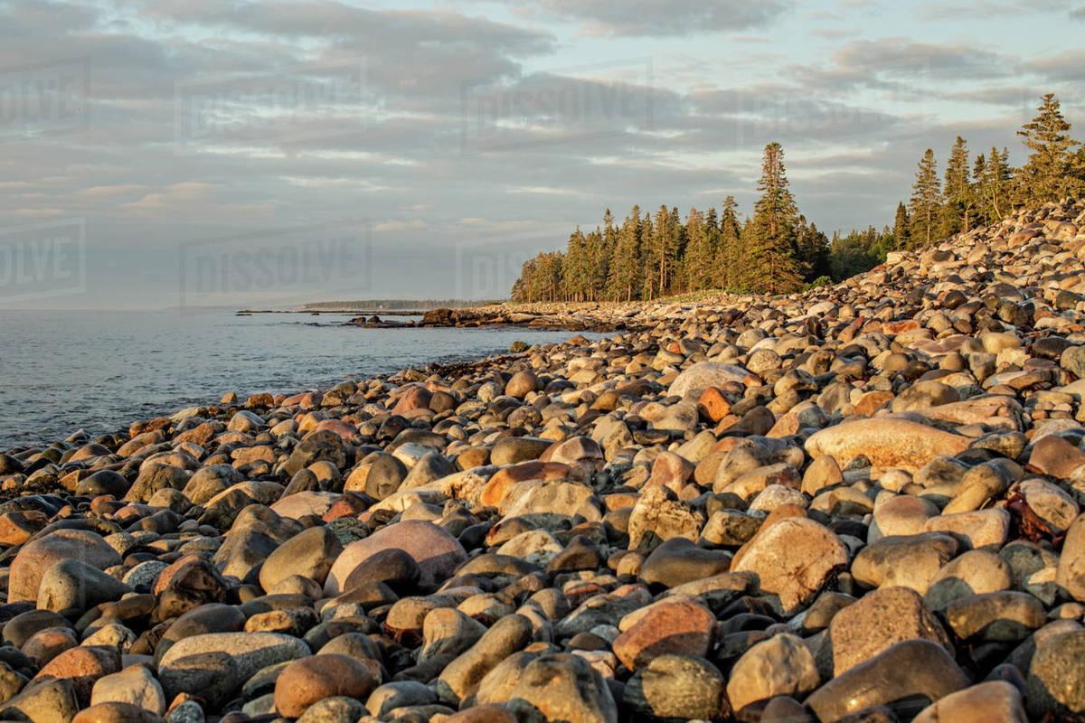 Sunrise along rugged Atlandtic coast of Maine, Acadia National Park Royalty-free stock photo
